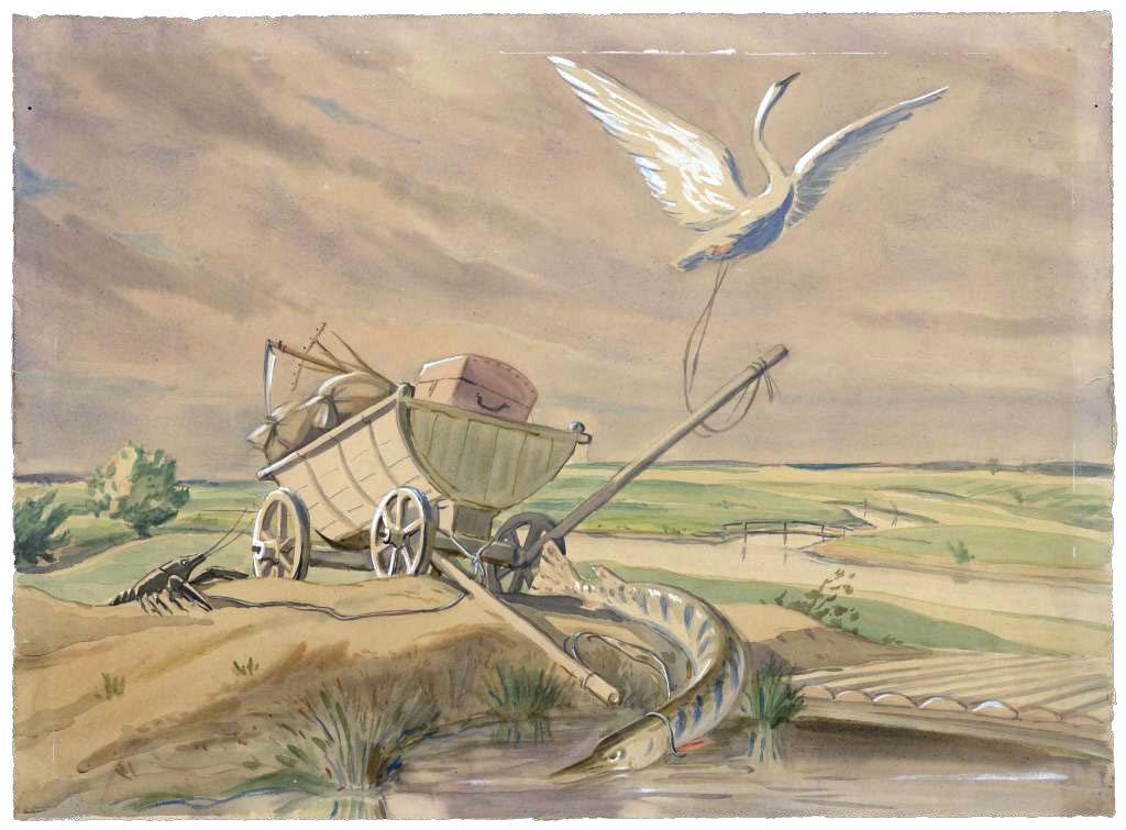 Басни Крылова — Лебедь, щука и рак